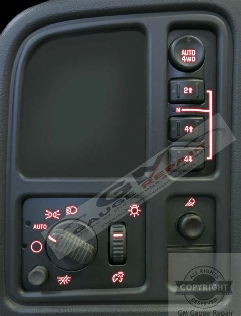 03 04 05 06 Silverado Tahoe Left Dash Switches bulb to LED
